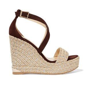 Jimmy Choo Portia Brown Metallic Sandals 6.5 NWT